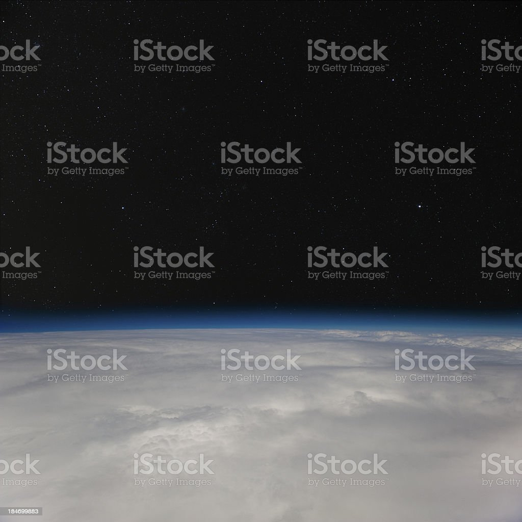 The night sky above Earth's atmosphere. royalty-free stock photo