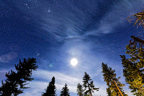 The Night Sky in blue at the John Muir Lodge stock photo