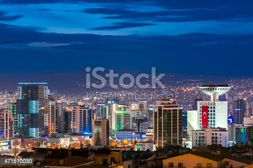 City of lights. This is a view of Capital city Ankara (TR). Captured from pik of a high hill.