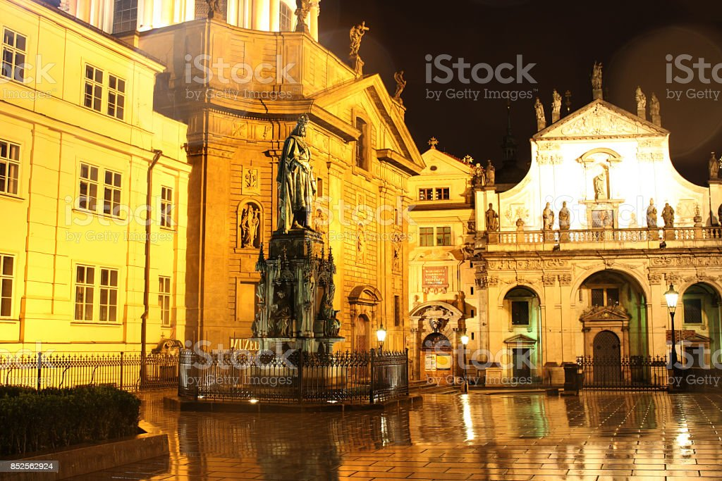 The night view of Prague stock photo