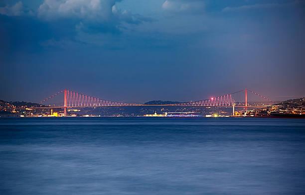 The night view of the Bosphorus with the Bosphorus bridge. Istanbul – Foto