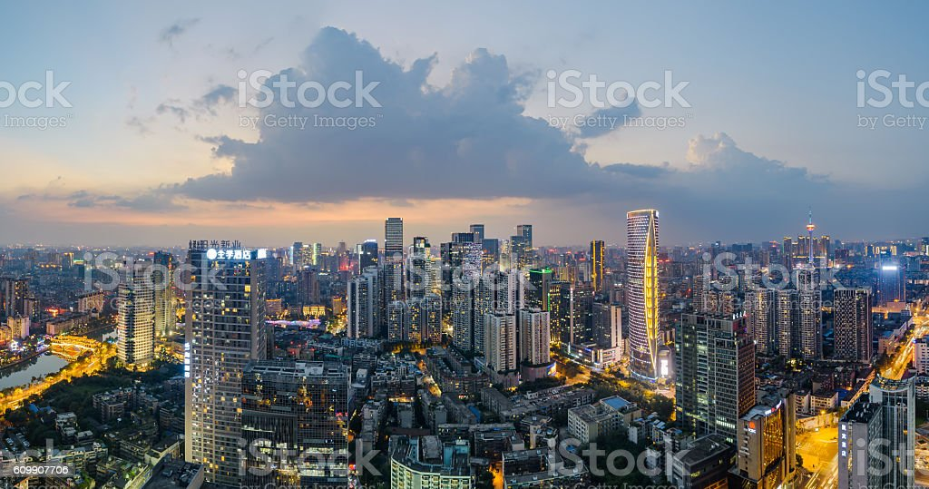 The nightscape of Chengdu downtown stock photo