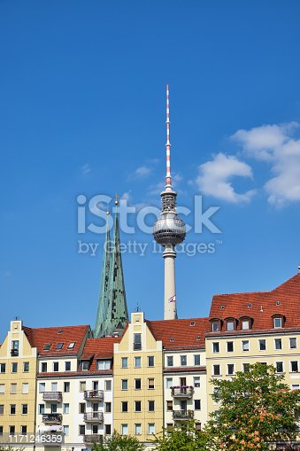 The Nikolaiviertel in Berlin with the famous Television Tower