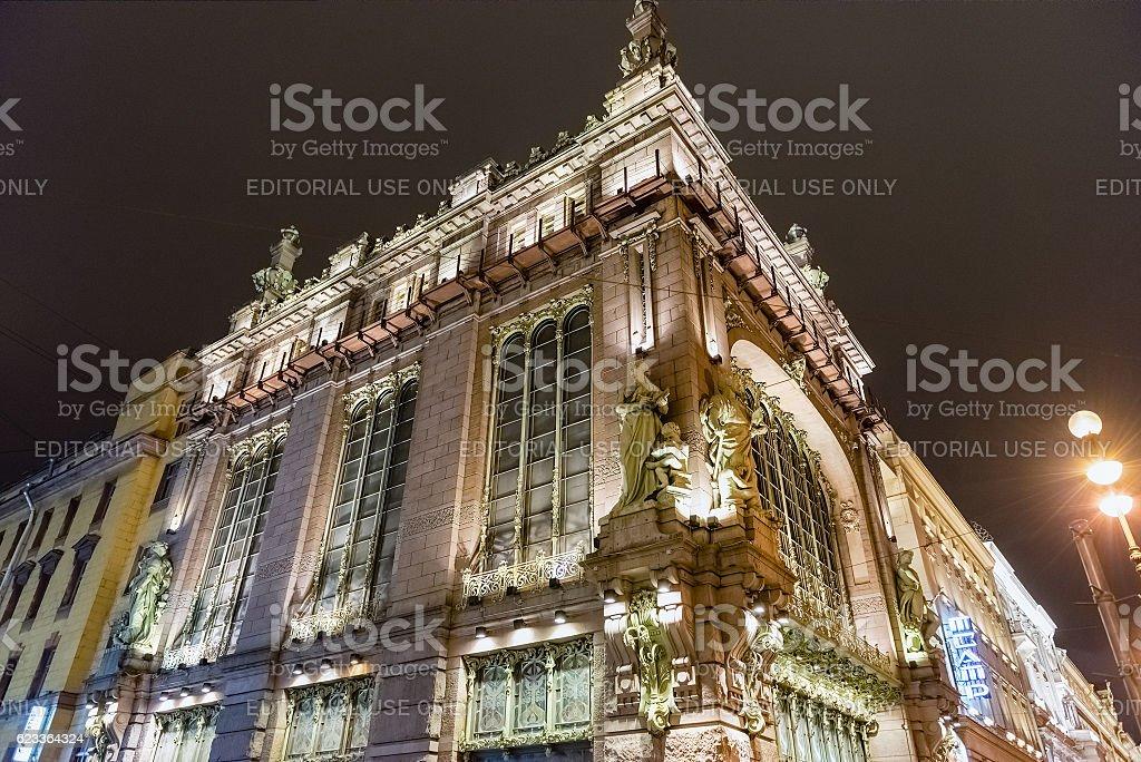 The Nikolay Akimov Saint Petersburg Comedy Theatre at night, Russia stock photo