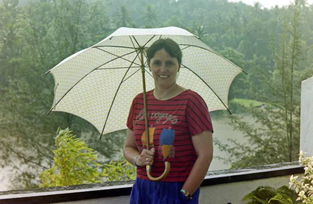 The nineties. Heavy monsoon rain. Kandy, Sri Lanka. stock photo