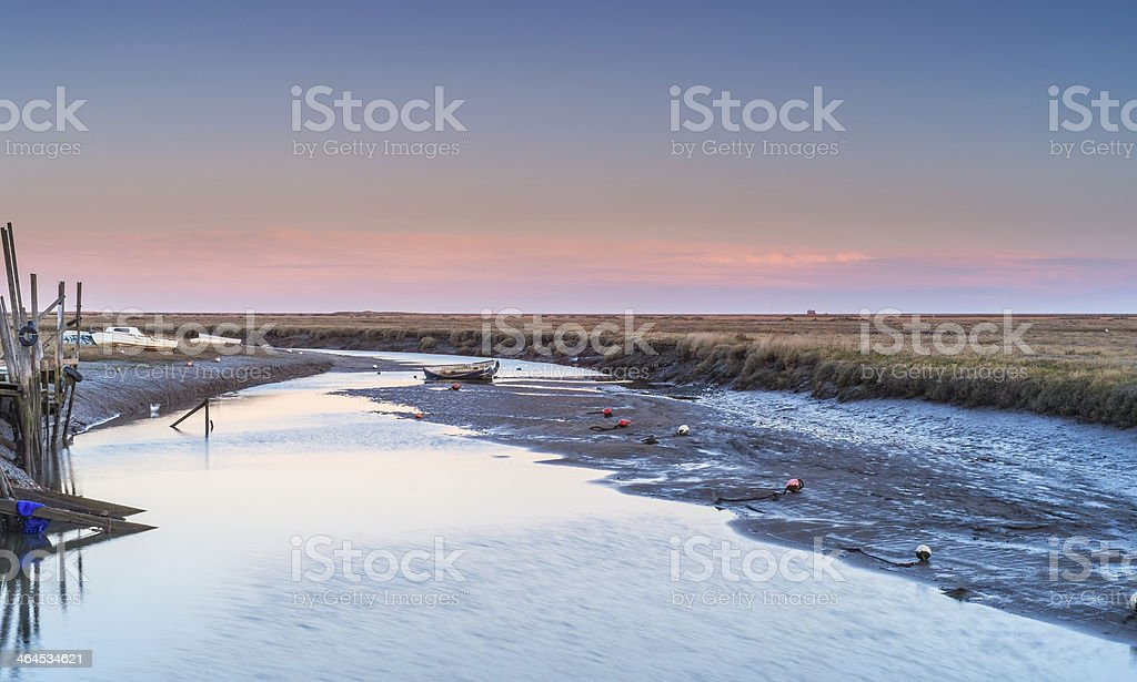 The Norfolk marshes at Blakeney stock photo