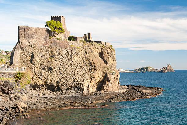 The norman castle of Aci Castello stock photo