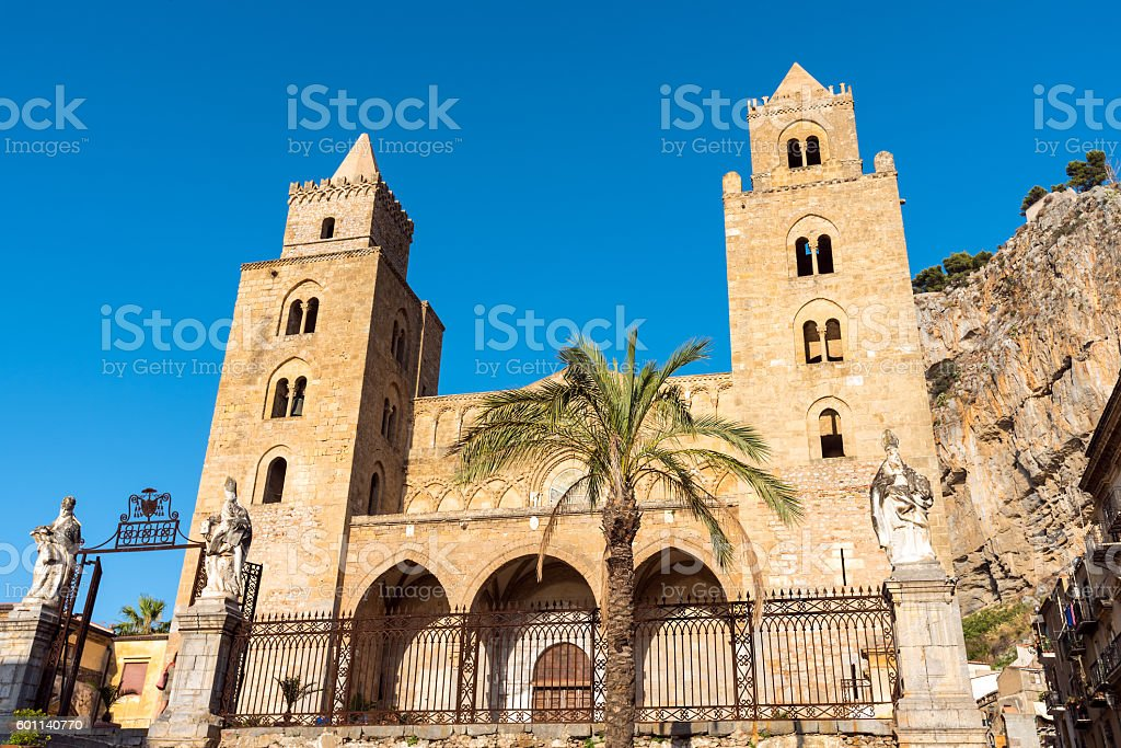 The norman cathedral of Cefalu stock photo