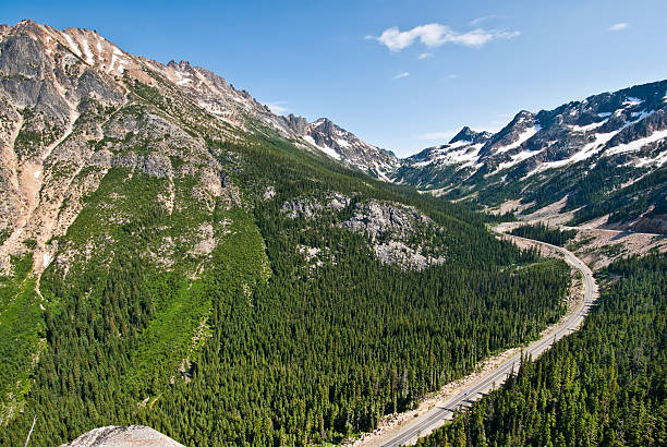 North Cascades Highway from Washington Pass stock photo