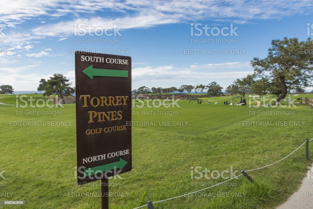 The North Course and South Course sign on the first tee of Torrey Pines golf course near San Diego. stock photo