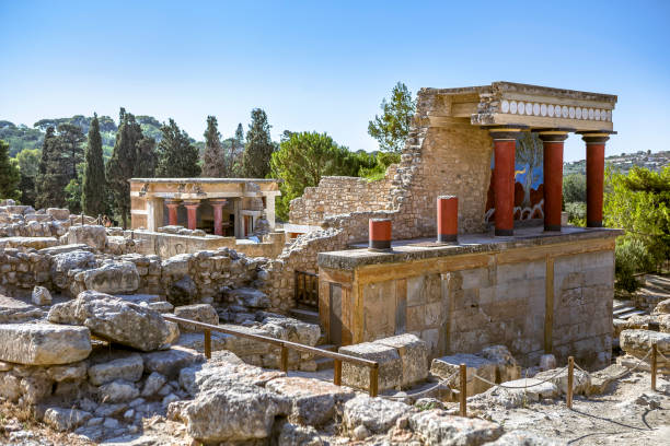 The North Entrance of the Palace with charging bull fresco in Knossos at Crete