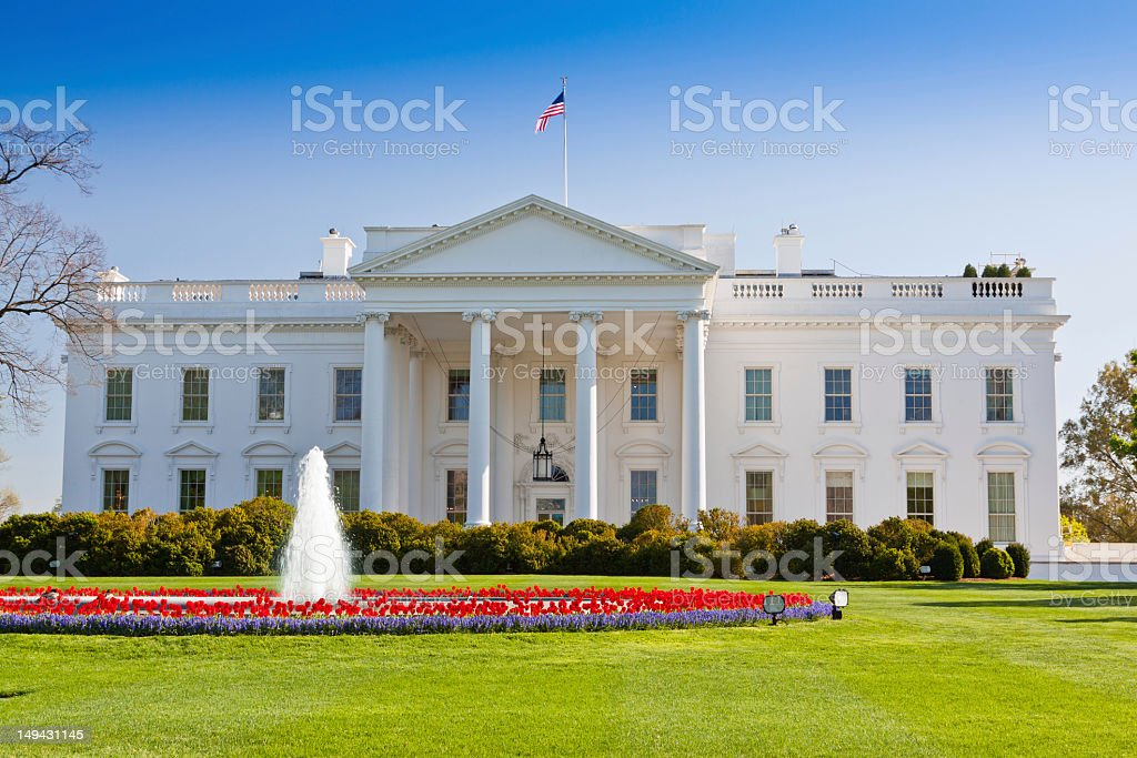 The North Portico of the White House, Washington DC, USA. stock photo