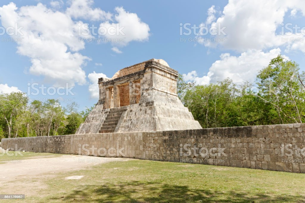 The North Temple, near the ball court on the Mayan site at Chichen Itza royalty-free stock photo