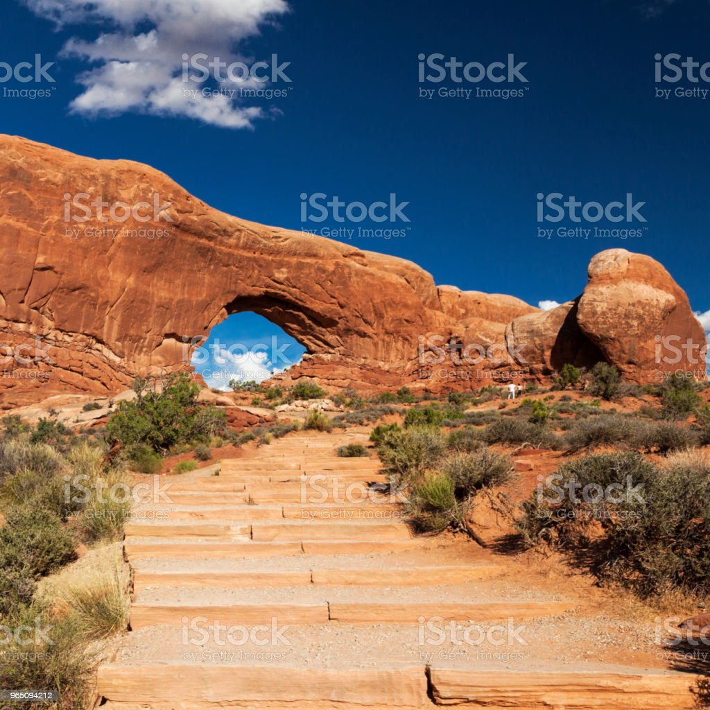 The North Window in Arches National Park, Utah, USA stock photo
