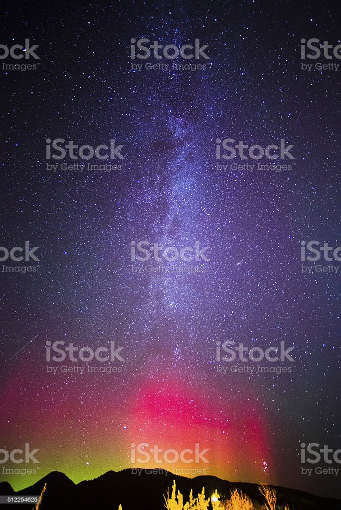 The Northern Lights over Whitefish, Montana stock photo