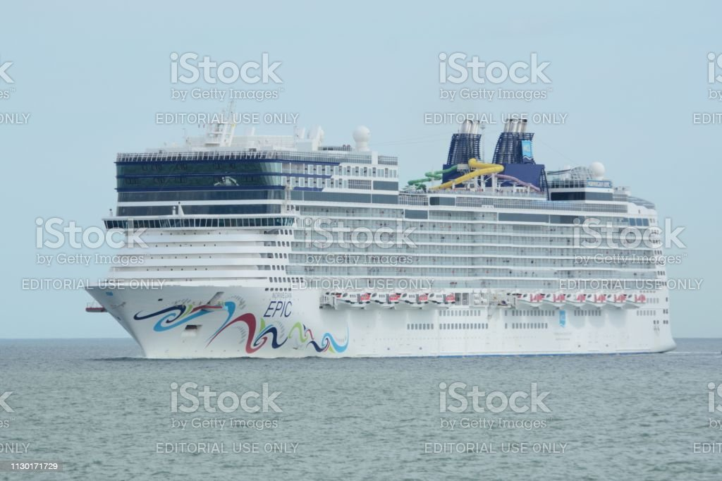 The Norwegian Epic approaching port stock photo