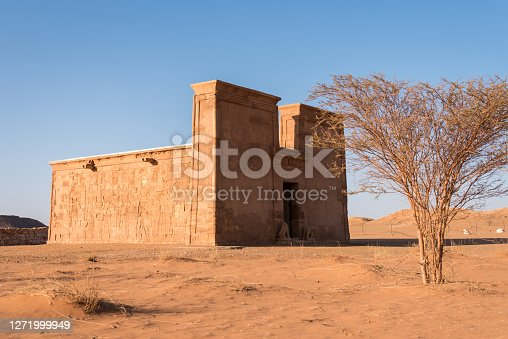 The nubian temple Apedemak with with a bush in foreground