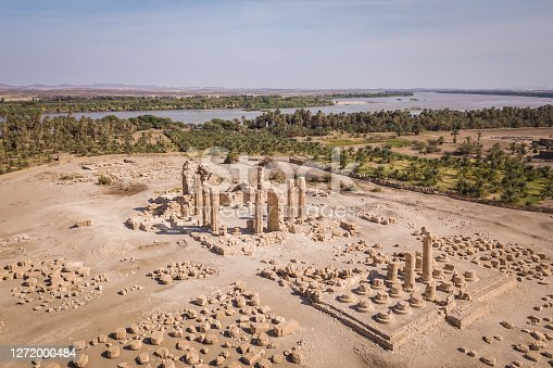 The nubian temple Soleb with river Nile in the background photographed from drone