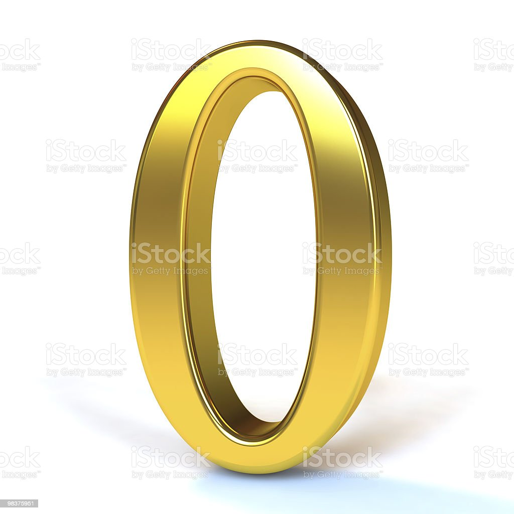 The Number 0 - Gold royalty-free stock photo