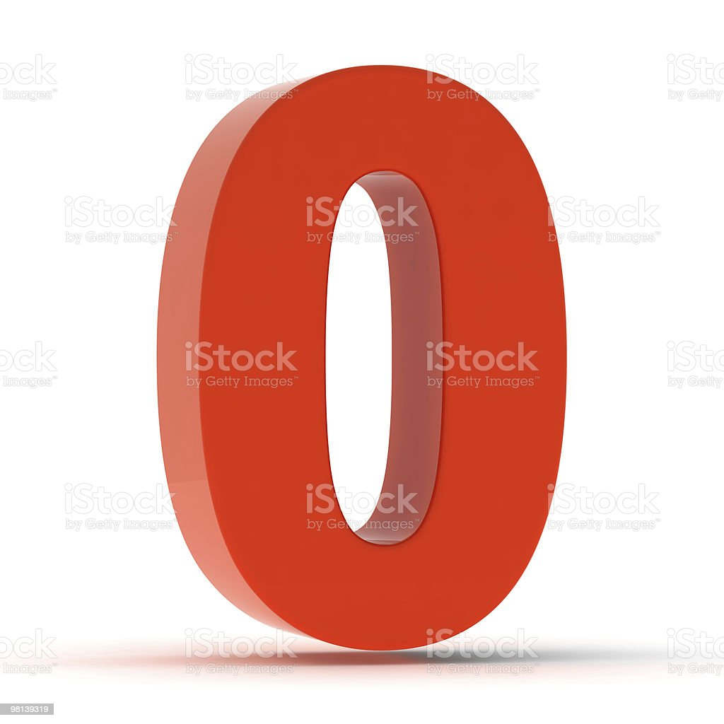 The Number 0 - Red Plastic stock photo