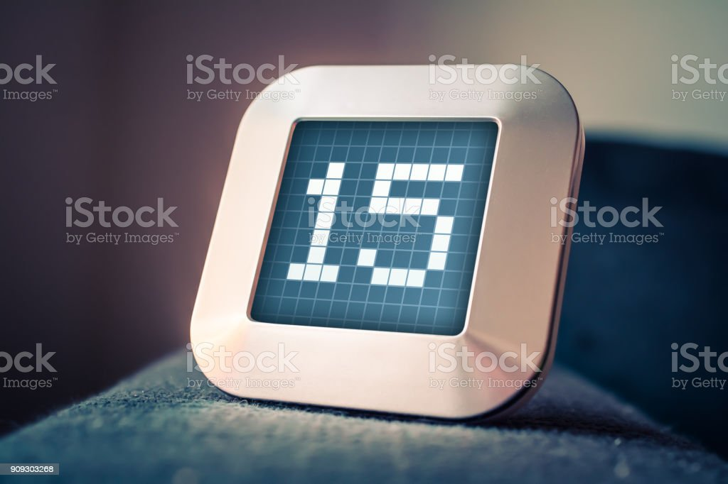 The Number 15 On A Digital Calendar, Thermostat Or Timer stock photo