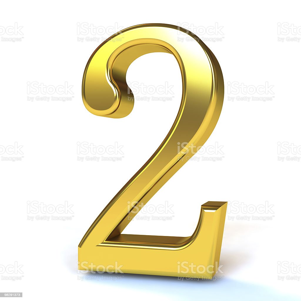 The Number 2 - Gold royalty-free stock photo