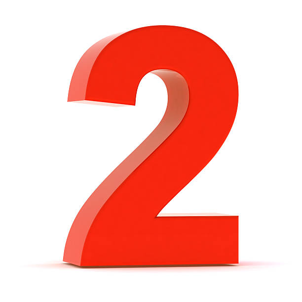 The Number 2 - Red Plastic stock photo