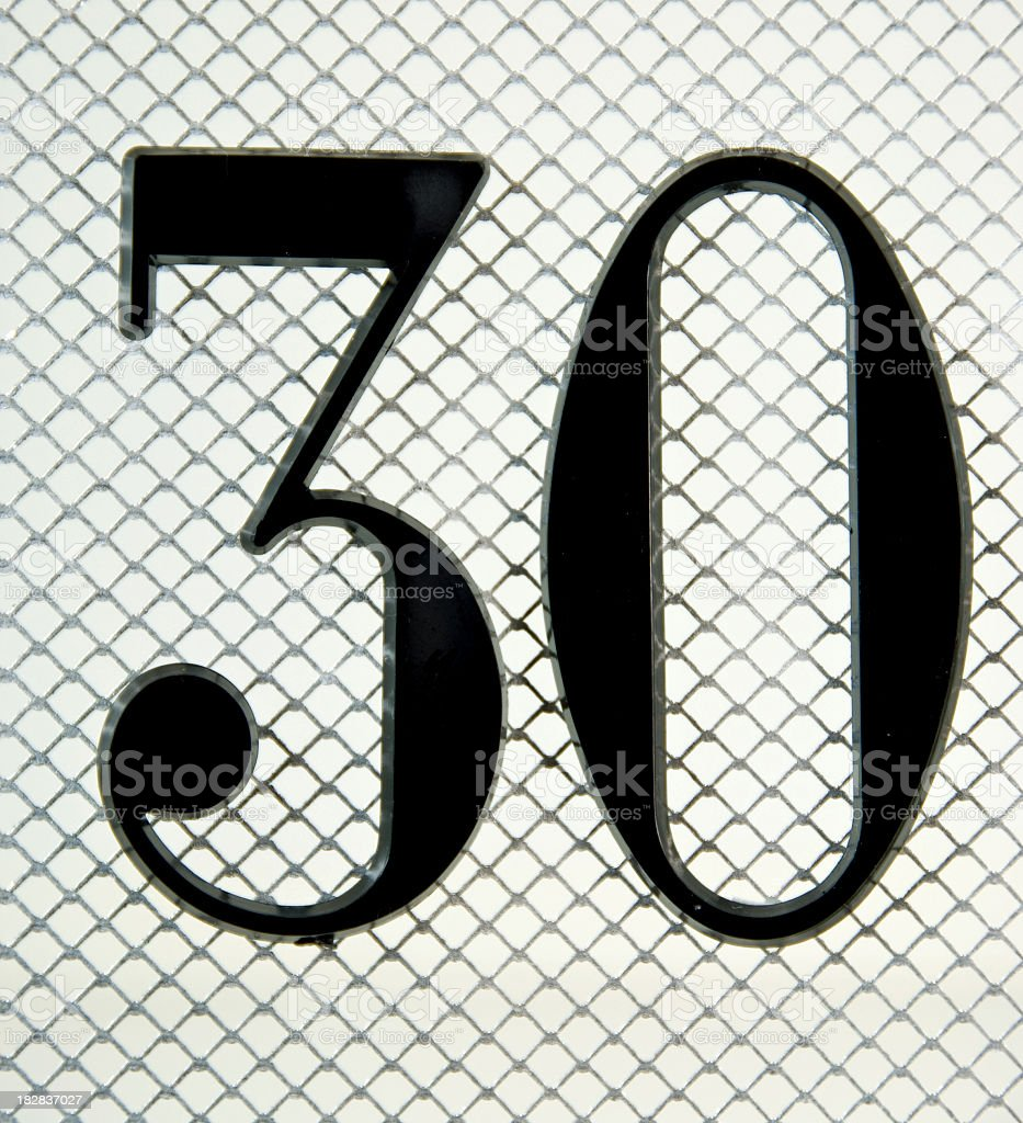 The Number 30 on Mesh stock photo