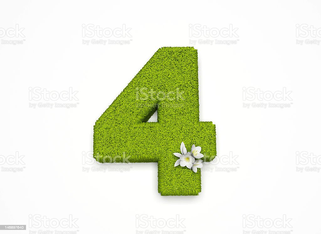 The Number 4 - Grass and flower royalty-free stock photo