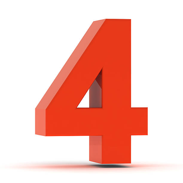 The Number 4 - Red Plastic stock photo