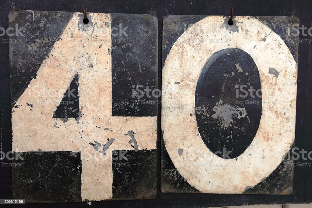 The number 40 on an old cricket scoreboard stock photo