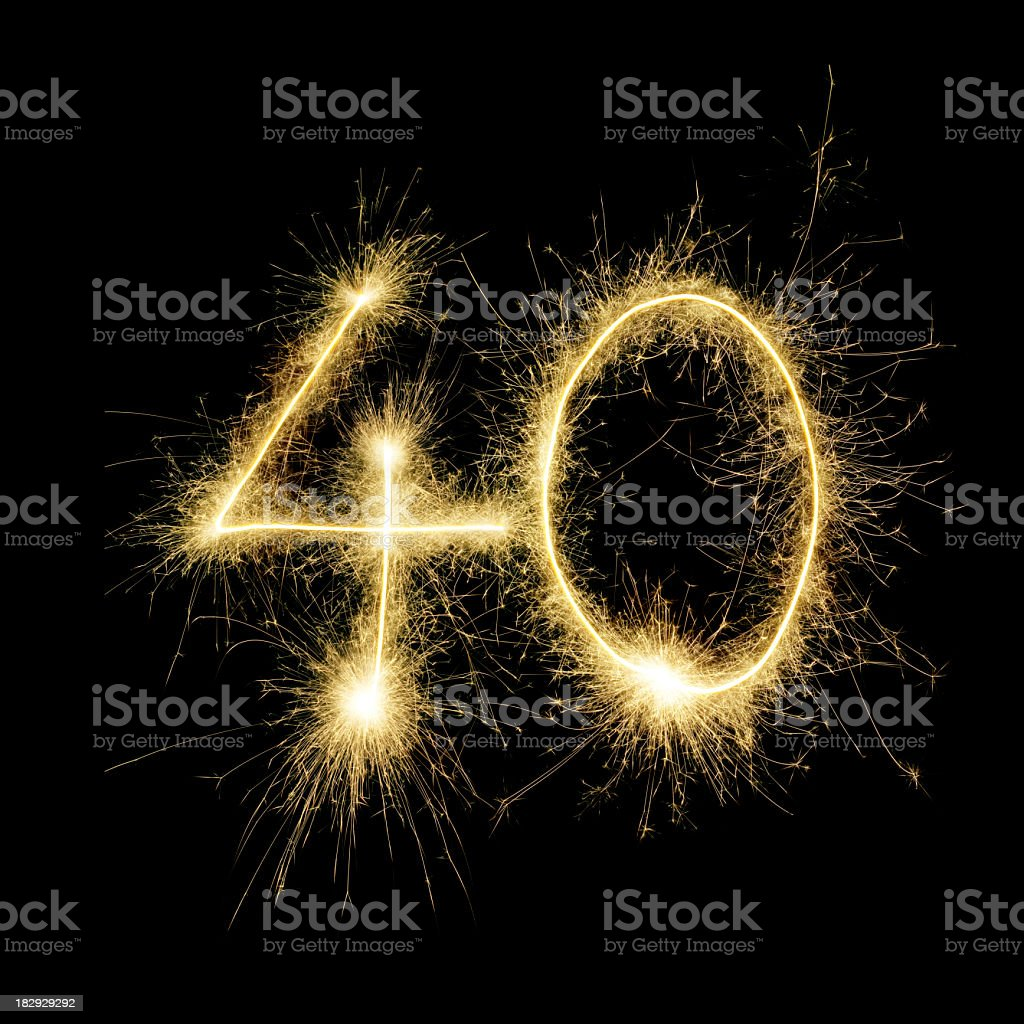The number 40 written with sparklers stock photo