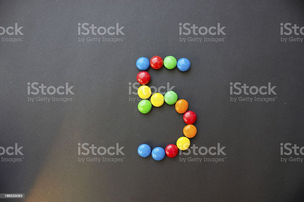 The number 5 five stock photo