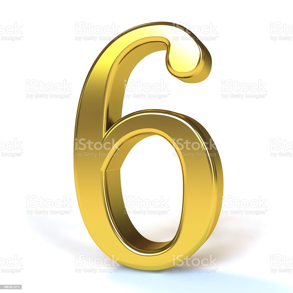 The Number 6 - Gold royalty-free stock photo