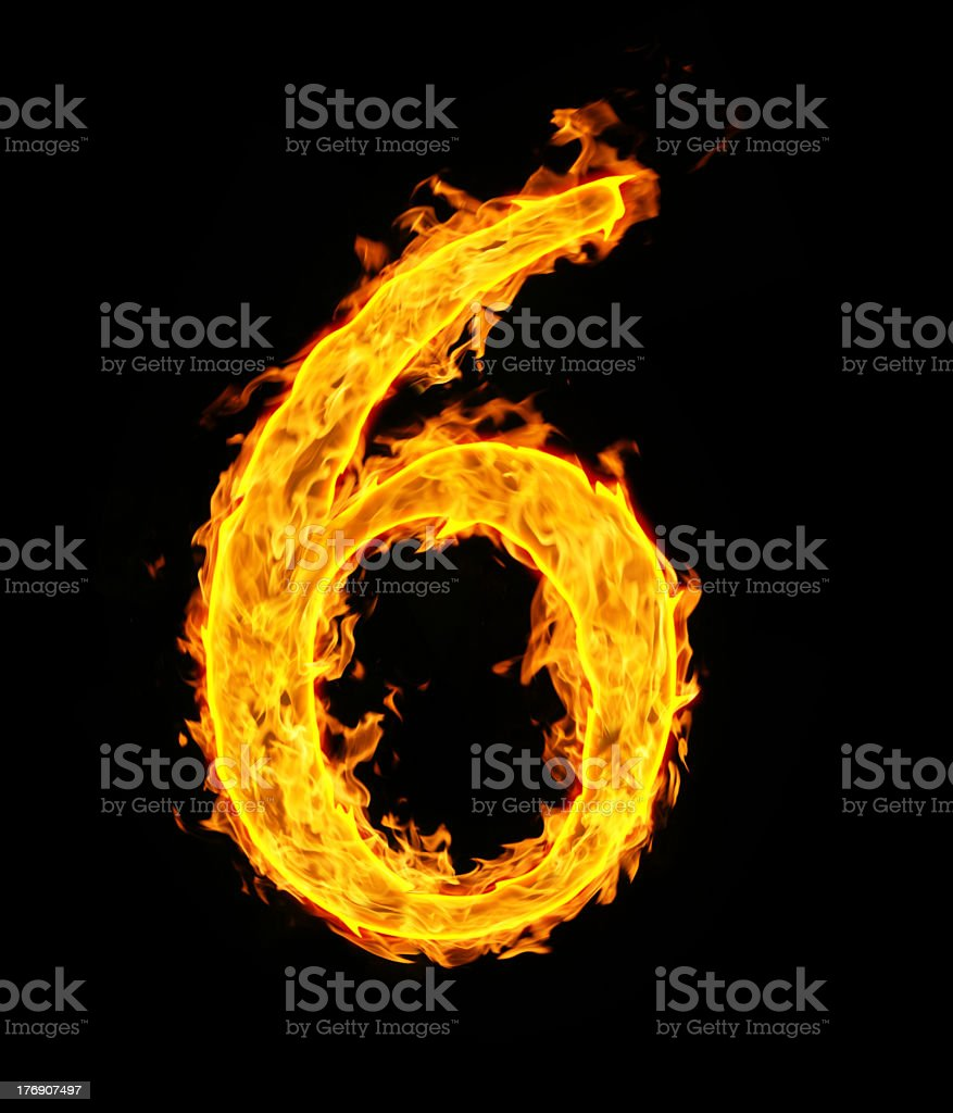 The number 6 in a fiery font over a black background royalty-free stock photo