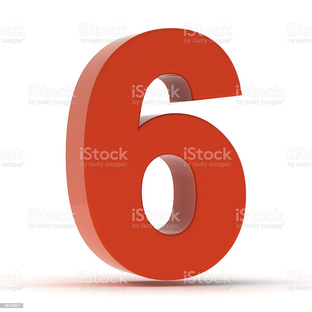 The Number 6 - Red Plastic stock photo