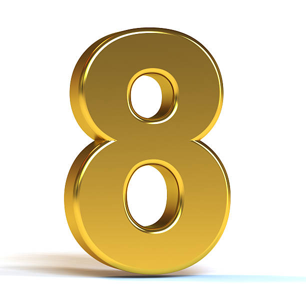 The Number 8 - Gold stock photo