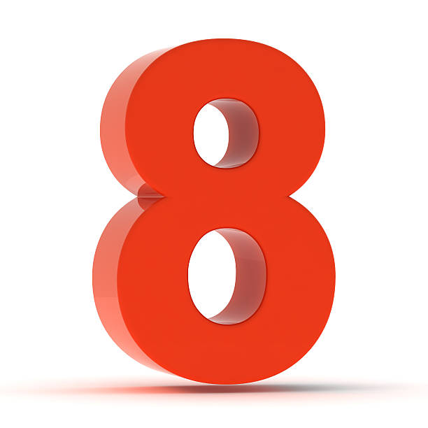 The Number 8 - Red Plastic stock photo