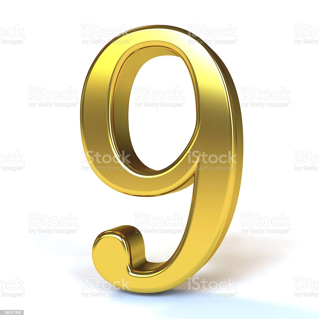 The Number 9 - Gold royalty-free stock photo