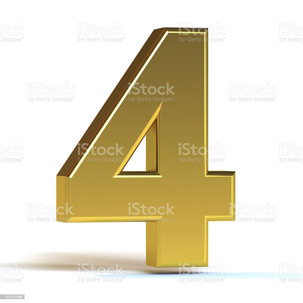 The Number Four - Gold royalty-free stock photo