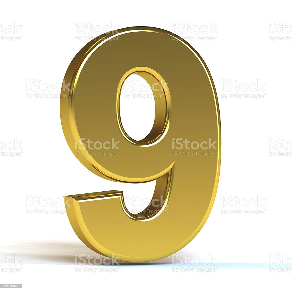 The number nine in gold on a white background royalty-free stock photo
