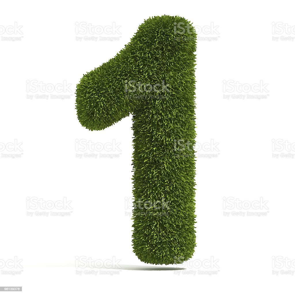 The number one composed of grass isolated on white royalty-free stock photo