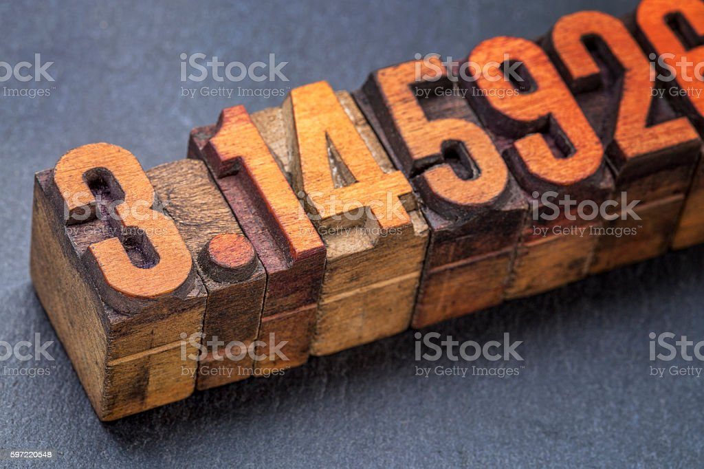 the number pi in wood type stock photo