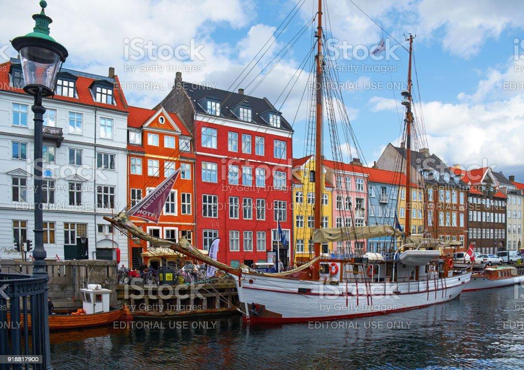 The Nyhavn canal in Copenhagen. stock photo
