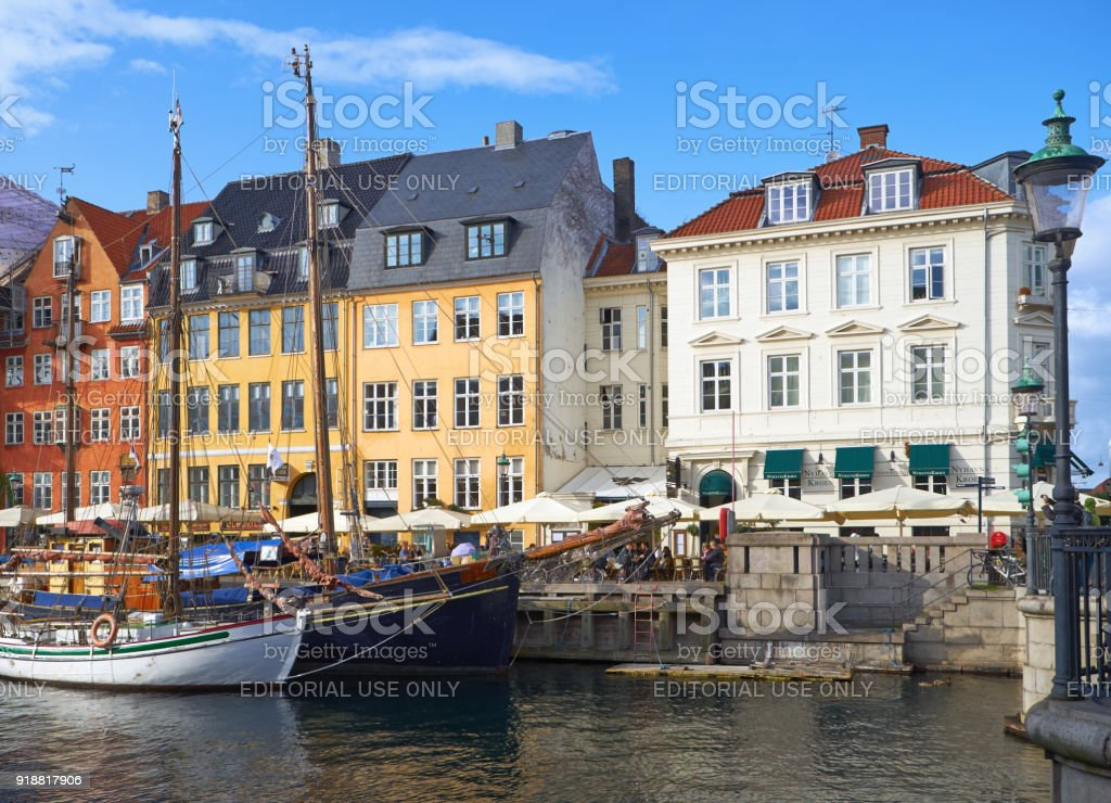 The Nyhavn canal (New Harbour) in Copenhagen. stock photo