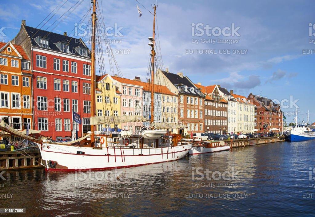 The Nyhavn waterfront in Copenhagen. stock photo