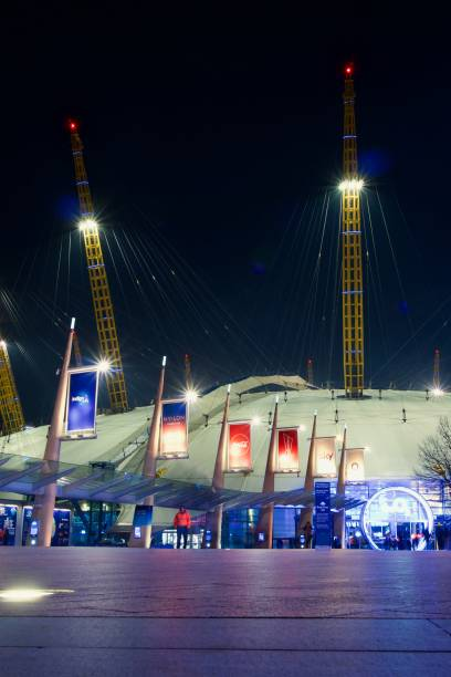 The O2, London Low angle night view of the O2, formerly known as the Millennium dome. skeable stock pictures, royalty-free photos & images