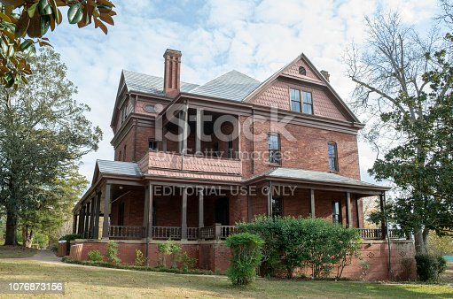The Oaks, home of Booker T Washington, first president of Tuskegee Insitute (present day Tuskegee University), Tuskegee, Alabama, United States. Now part of the National Park Service Tuskegee Institute National Historic Site. Photograghed Nov 29, 2018.