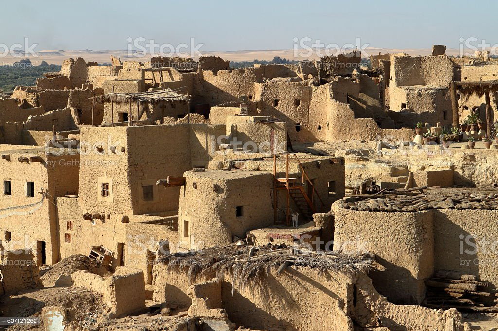 The oasis town of Siwa in the Sahara of Egypt stock photo