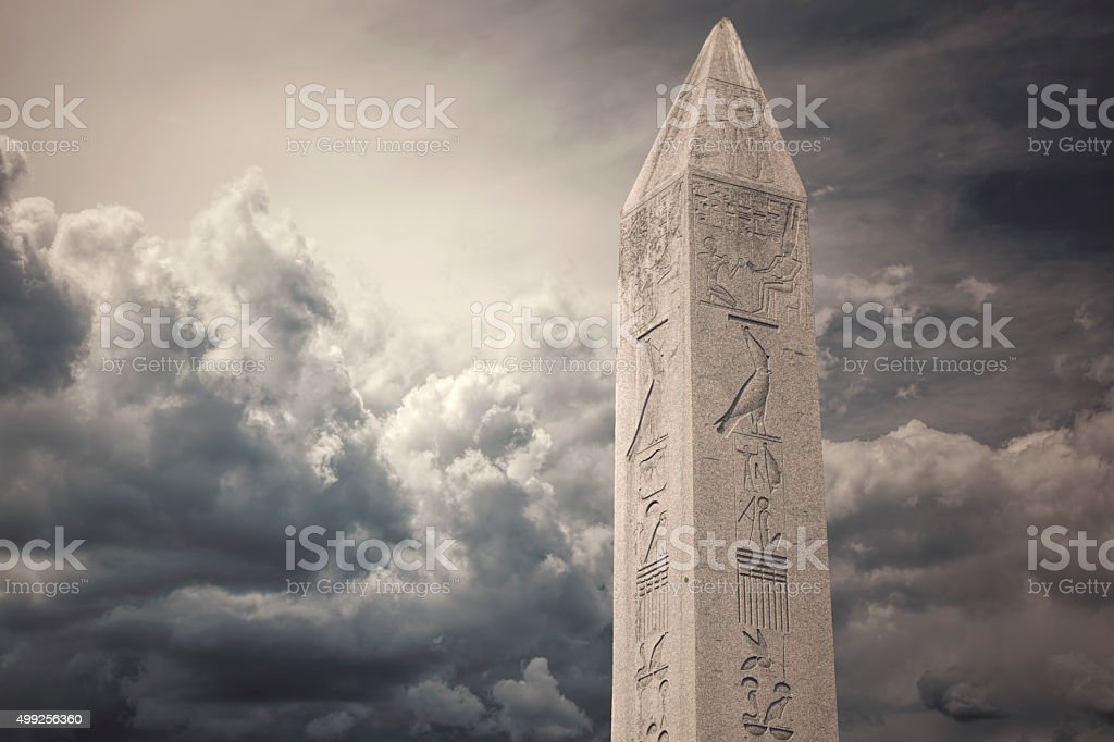 The Obelisk of Theodosius  of the Blue Mosque in Istanbul stock photo